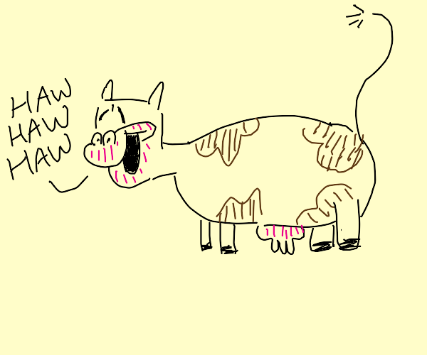 Laughing brown cow