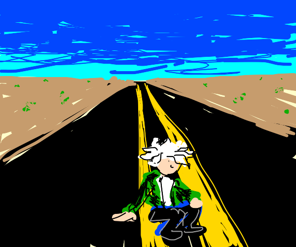 Nagito just sitting in the middle of the road