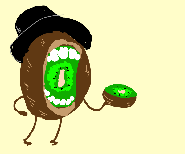 fancy kiwi eats kiwi