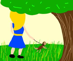 blonde puppy lady in a blue dress
