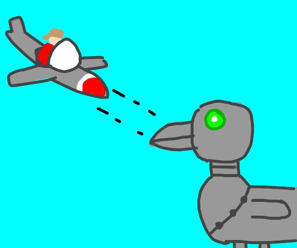 pilot attacks robot duck