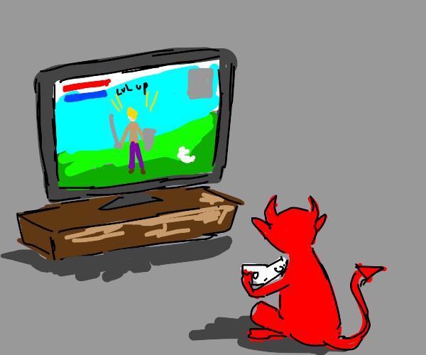Demon playing videogames