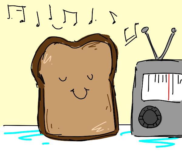 Piece of toast listening to music