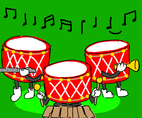 Set of drums plays various other instruments