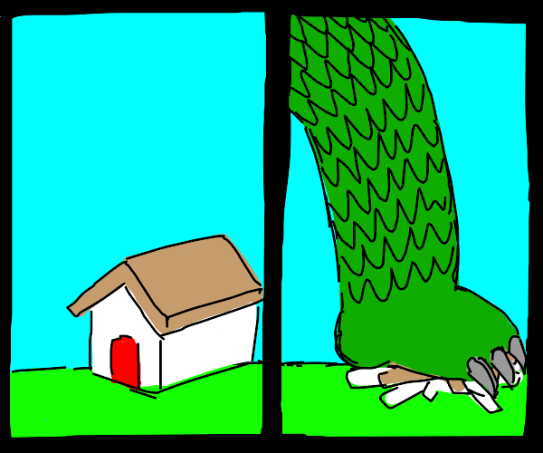 Godzilla crushing house with his green foot