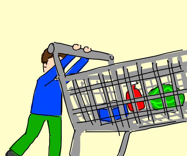 A boy pushing a shopping cart