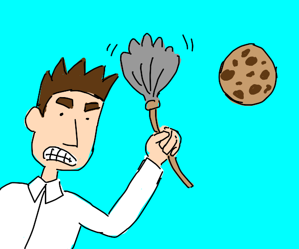 man angrily waves duster at a cookie