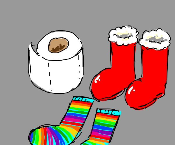 Toilet Paper with rainbow socks and red boots