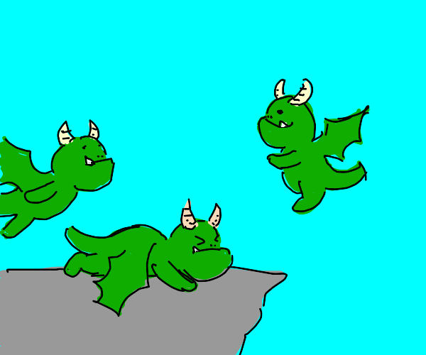 Baby dragons learning how to fly