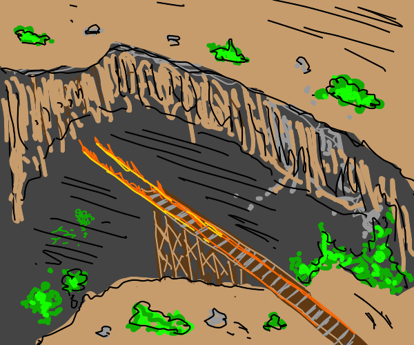 Thomas the Tank Engine going off a bridge