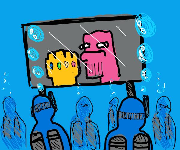 Wet swimmers watching movie in cinema