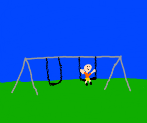 kid alone on swing