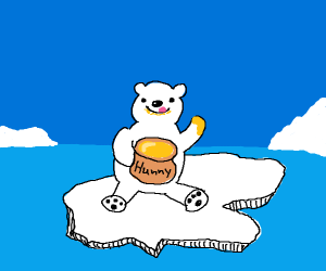 Polar bear keeps honey to itself