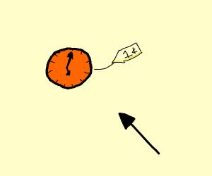 Orange clock costing 1 cent