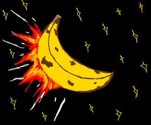 Flaming Banana Flies In The Sky