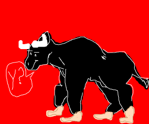 a bull with human feet instead of hooves