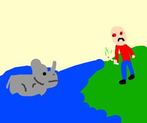 rhino in sea found by depressed bald man high