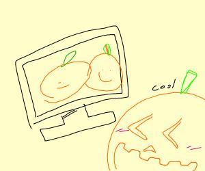 jack o lantern watching tv