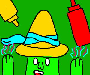 Magical man making condiments float