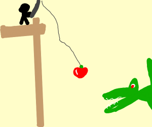 fishing for a pteridactal with an apple