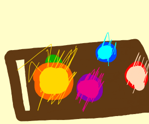 colorful orbs on a table