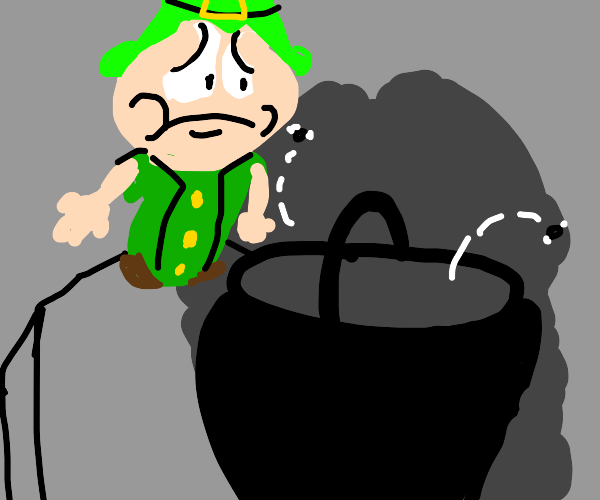 Sad leprechaun sees no gold in his pot