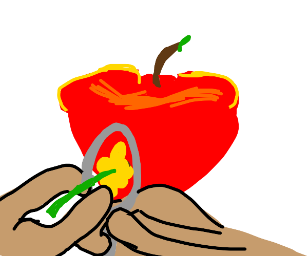 sewing a flower into an apple