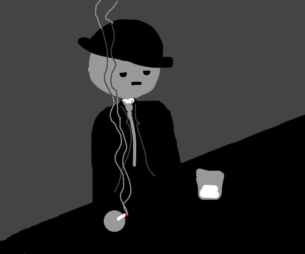 Noir detective at a bar