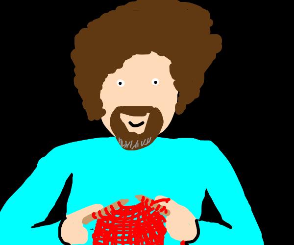 Bob Ross knitting