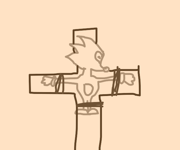 Sonic tied to the cross