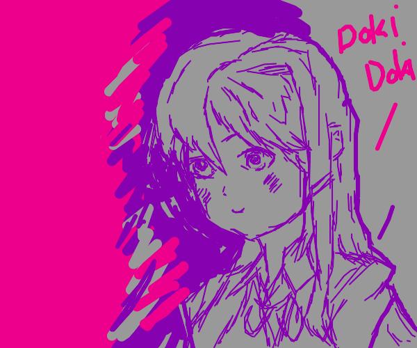 an anime girl saying doki doki
