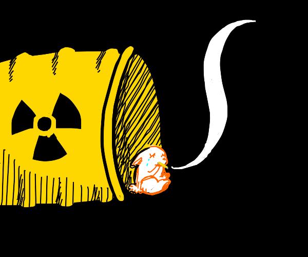 Unhappy rabbit in radioactive tank