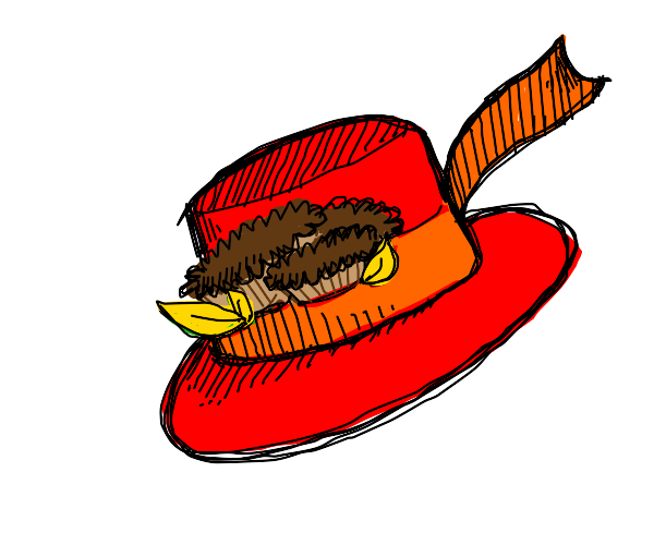 Red top hat with Reeses pieces on it