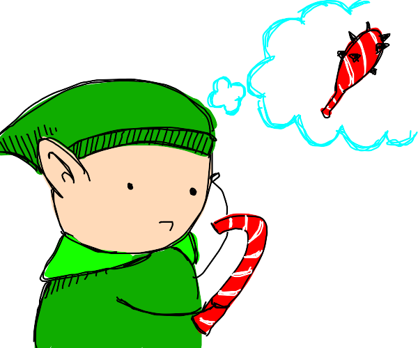 elf considers candy cane as bludgeon weapon