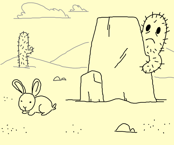 a cactus hiding from a rabbit