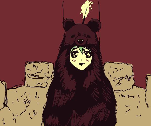 anime girl in bear suit