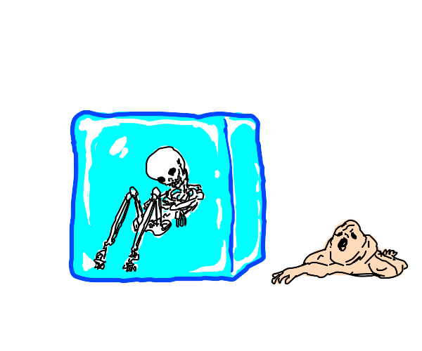skeleton in cube of ice separated from flesh