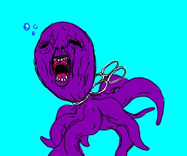 Garbage stuck on octopus kills it