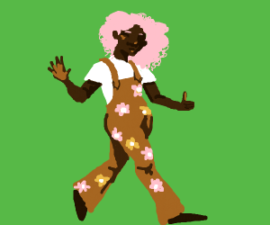 Pink hair girl with orange floral overalls