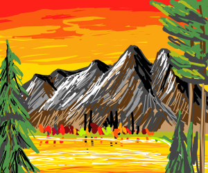 a landscape of a small forest and a mountain