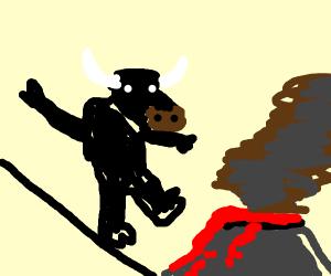 Buffalo tight-ropes above volcano
