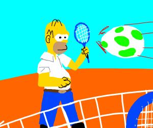 Homer playing tennis with a Yoshi egg