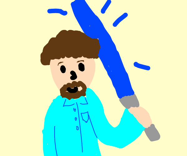 Bob Ross holding a light blue lightsaber.