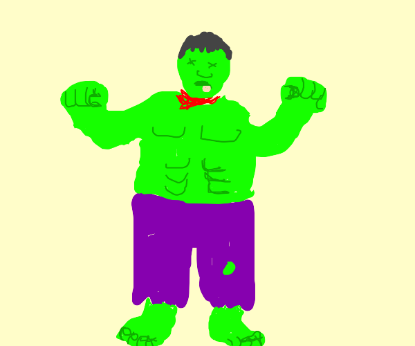 Dude has the hulks torso and pants but is ded