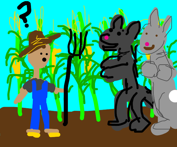 Furries confront a very confused farmer