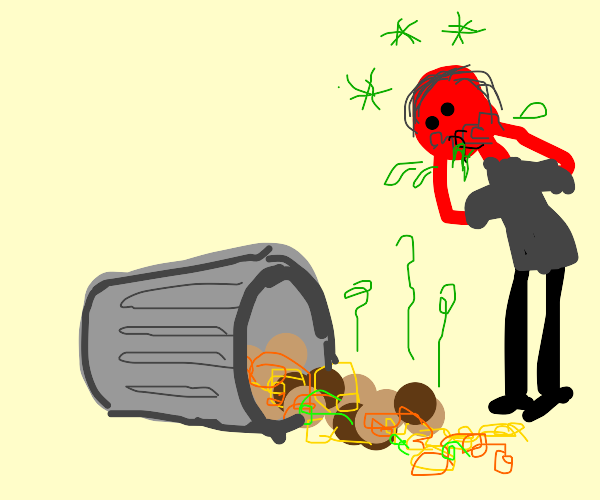 Red man about to puke. Trash really stinks