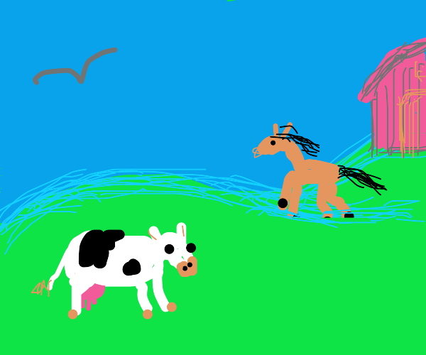 Open farm with cow, horse and bird