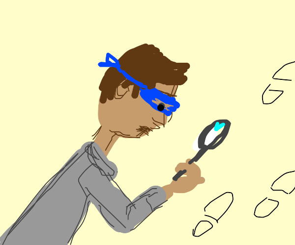 Person with a blue eyemask investigating