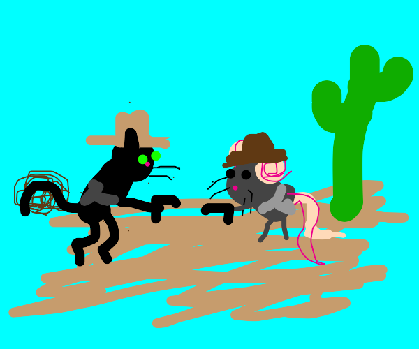 Mouse and Cat gun fight in the wild west
