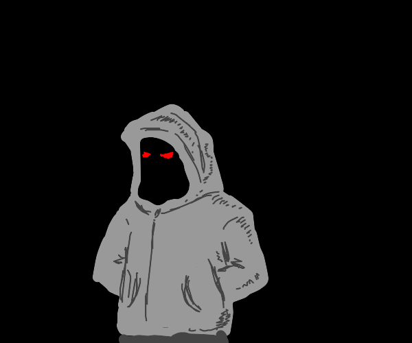 Mysterious person in grey hoodie